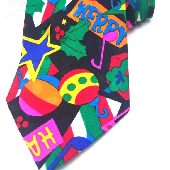 Addiction | 90s Multi Color Holiday 100 SILK Tie